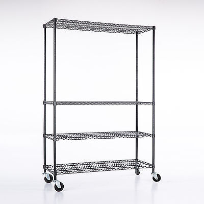 Adjustable 82x48x18 Heavy Duty 4 Tier Shelving Rack Steel Wire Metal Shelf