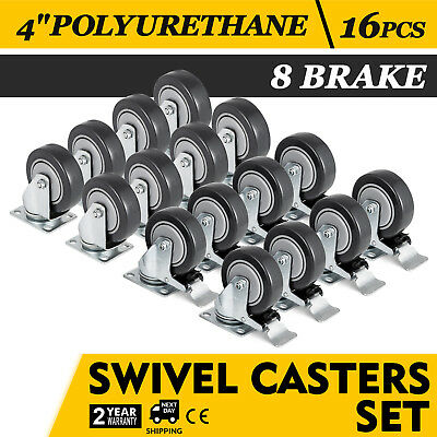 16 Heavy Duty Caster Set 4 Wheels All Swivel 8 Brake Casters Non Skid No Mark