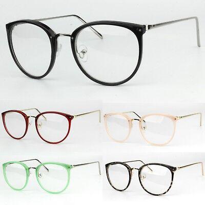 Womens Clear Lens Fashion Glasses Oval Lens Metal Frame UV400 Anti-Blue Light Oval Womens Light