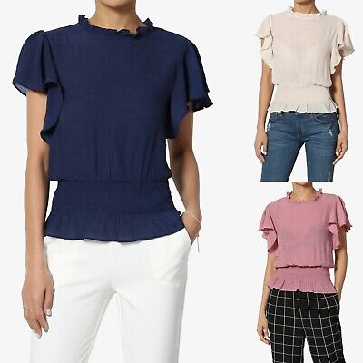 TheMogan Petite Flutter Short Sleeve Smocked Hem Blouse Ruffle Neck Blouson Top