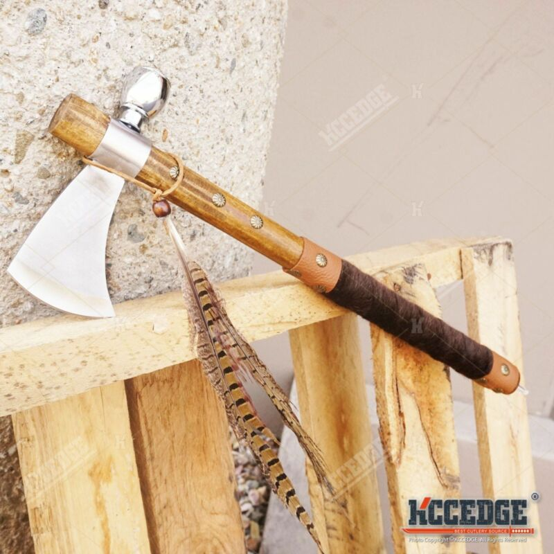 """19"""" NATIVE AMERICAN TOMAHAWK Replica Axe PEACE PIPE with Functional Pipe"""