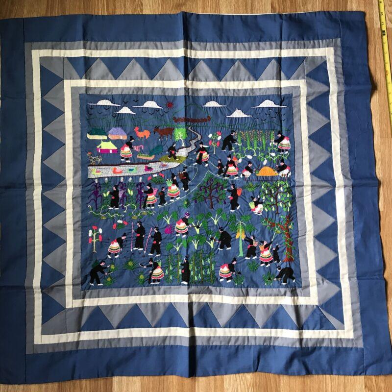 "Hmong STORY CLOTH Hand embroidered Folk Art textile farm garden River 35x34"""