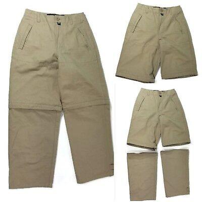 NAUTICA Convertible Zip Off Pants Shorts Kids Boys Size 26 Khaki Hiking Outdoors