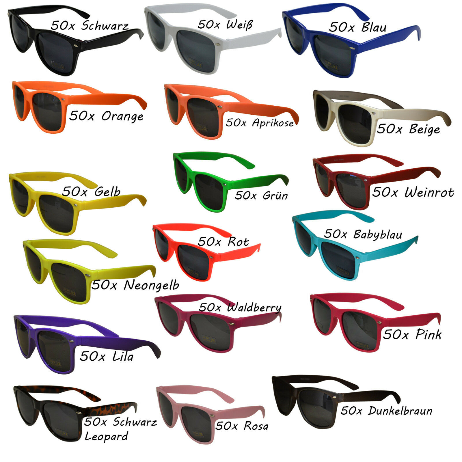 50 Stück Sonnenbrillen 80er Nerd Style Brille Retro Atzenbrille Brillen