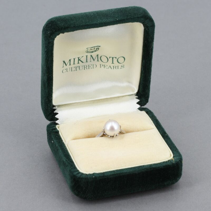Vintage Mikimoto Sterling 8mm Cultured Pearl Solitaire Filigree Ring w/ Box Sz 7