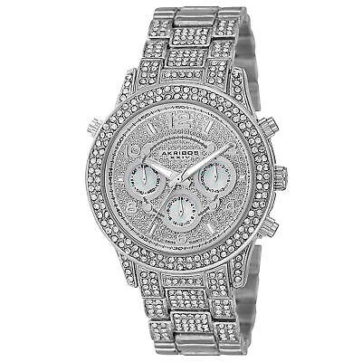 Women's Akribos XXIV AK776SS Crystal Accented Multifunction Silver-tone Watch