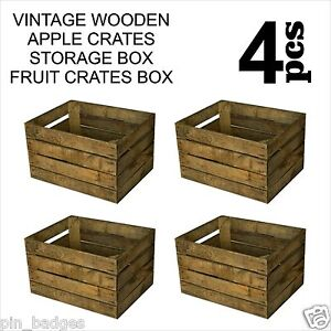 4pcs vintage wooden apple crates storage box fruit crates for Used apple crates
