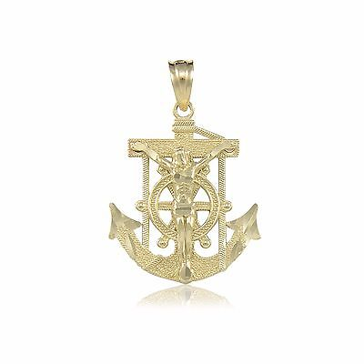 14K Solid Yellow Gold Jesus Crucifix Anchor Pendant Mariner Cross Necklace Charm 14k Gold Anchor Pendant