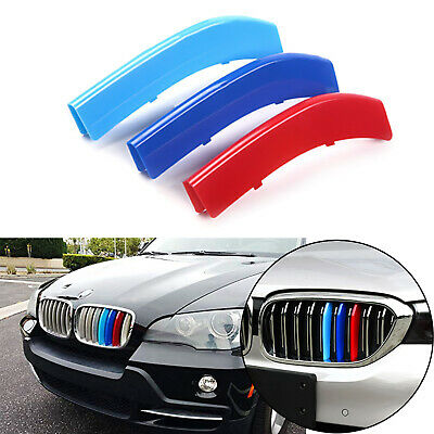 Set Tri Color Kidney Grille Insert Trims Fit BMW 5 Series F10 F11 Standard Grill