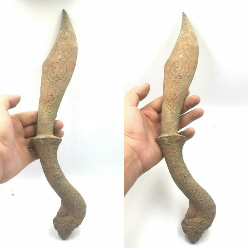 Excellent Ancient old Bronze Rare Big Dagger Knief With Dragon Handle 800BC