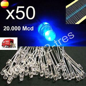 x50-Diodos-Led-3mm-Luz-Azul-Blue-Light-Alta-Calidad-Resistencias-Arduino