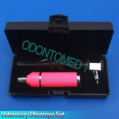 Veterinary Otoscope Set Animal Pink Color Diagnostic Instruments