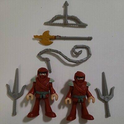 LOT of (2) Fisher Price IMAGINEXT Red NINJA Figures Weapons HOOD