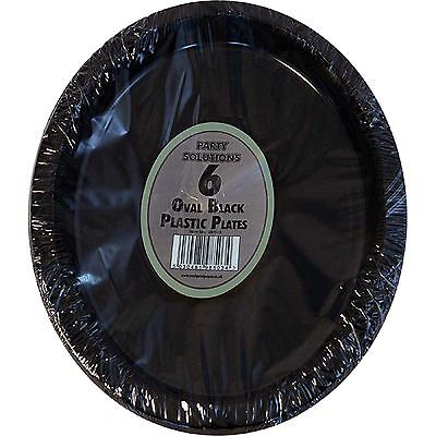 12 x OVAL BLACK PLASTIC PLATES PLATTERS BIRTHDAY BBQ PARTY TABLEWARE DISPOSABLE](Disposable Party Platters)