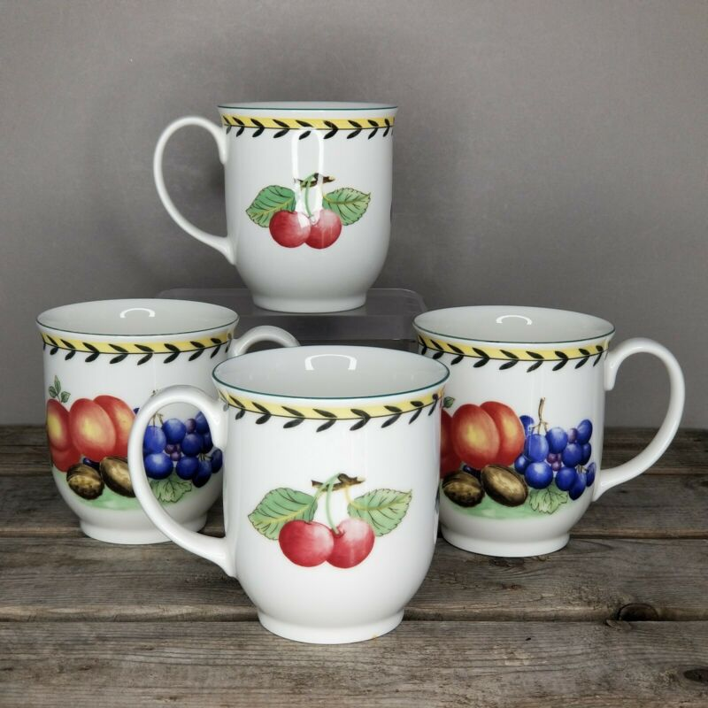 LOT 4 FRENCH GARDEN FLEURENCE Villeroy & Boch GRANDMUGS JUMBO COFFEE MUGS Cherry