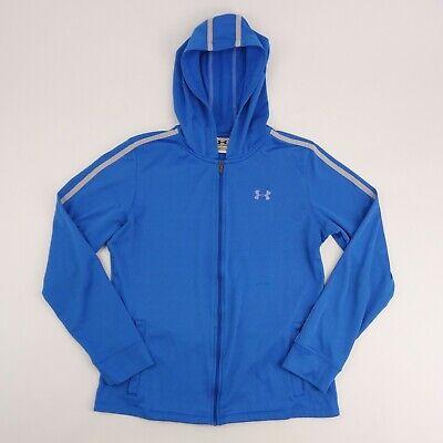 Under Armour Womens Medium Blue Full Zip Light Weight Fleece Hoodie Sweatshirt