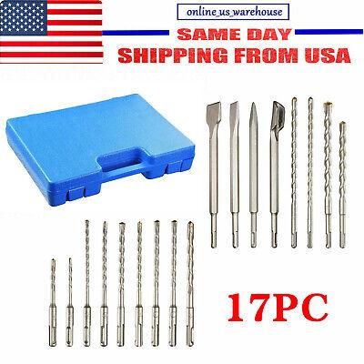 17pc Sds Plus Rotary Hammer Drill Bits Chisel Concrete Masonry Hole Tool Set