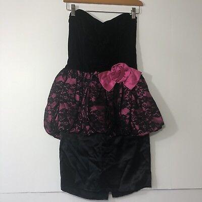 Vintage Gunne Sax Jessica Mcclintock 80s Barbie Dress Costume Sz 7 Pink Black   - Barbie 80s Costume