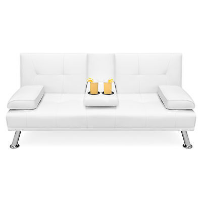 BCP Faux Leather Convertible Futon w/ 2 Cup