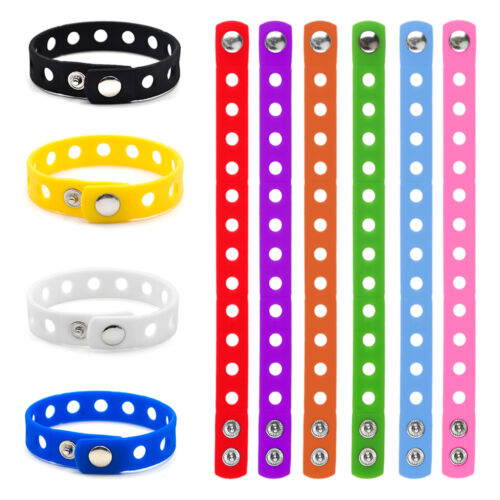 10x Lot Kids Silicone Wristband Pack for Charms Jibbitz Rubber Bracelet