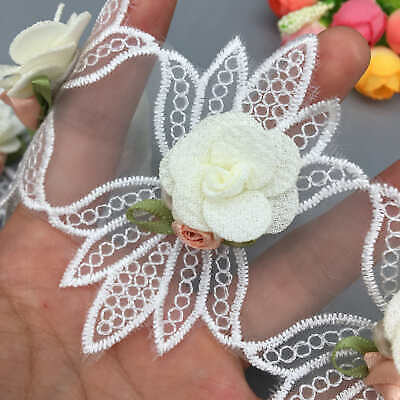 10x Lace Trim Fabric Pearl 3D Rose Flower Voile Embroidered Ribbon Wedding DIY