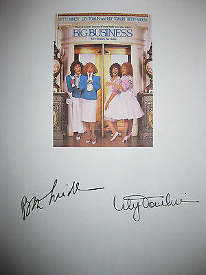 Big Business Signed Movie Film Script Bette Midler Lily Tomlin Autograph reprint