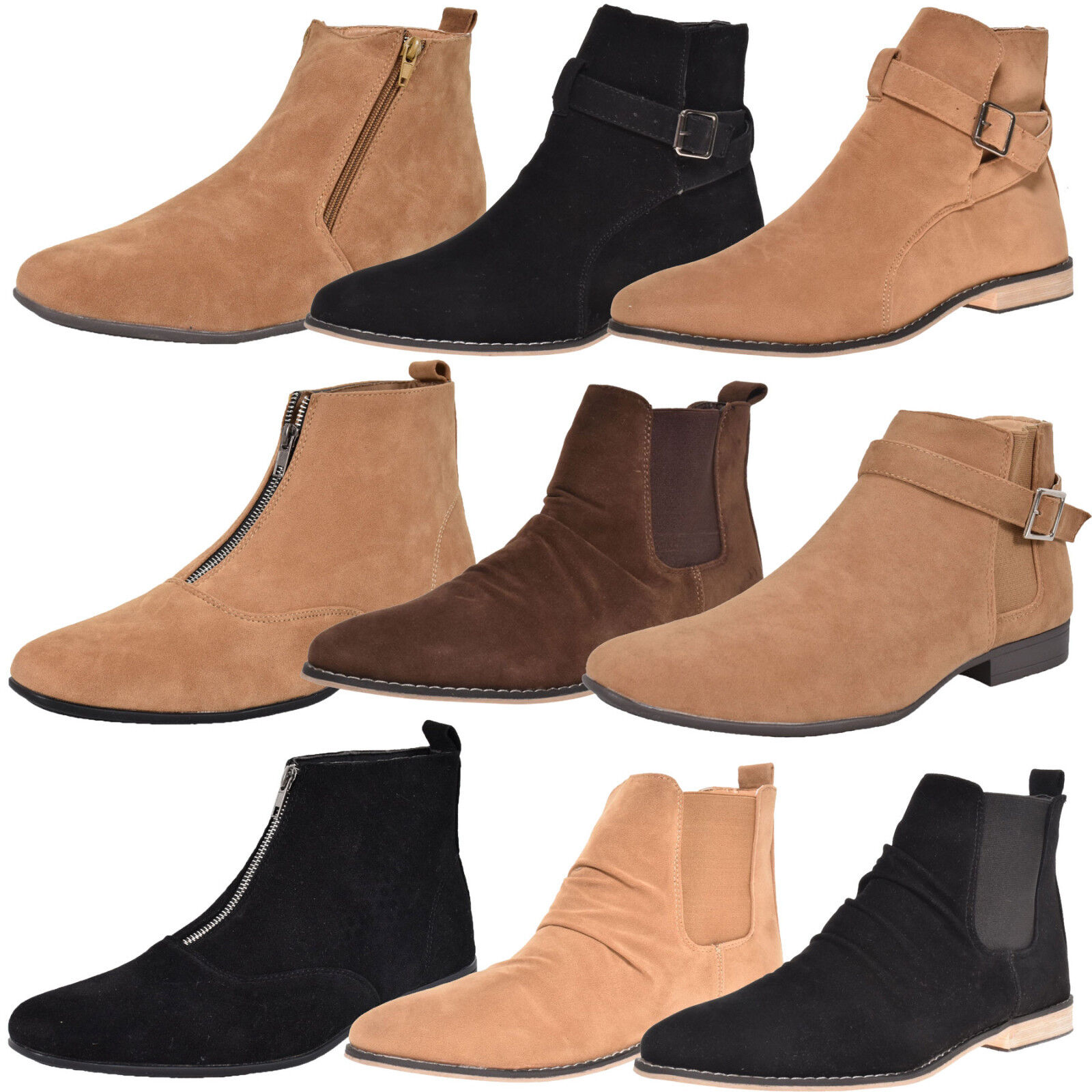 Mens Ankle Boots Faux Suede Chelsea Block Heel High Top College Work Shoes Boot