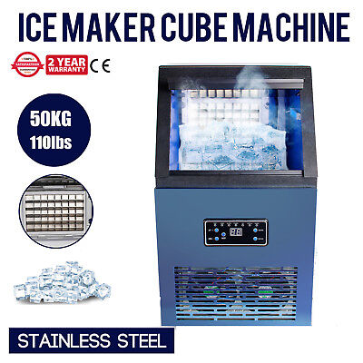 50kg Auto Commercial Ice Cube Machine Maker Stainless Steel Bar 110v 230w 110lbs