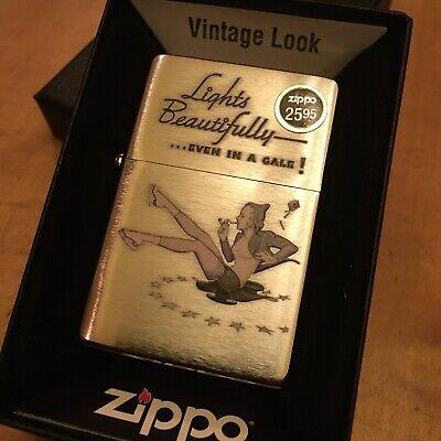 Zippo 28537 Windy Varga Brushed Chrome Lighter RARE & DISCONTINUED
