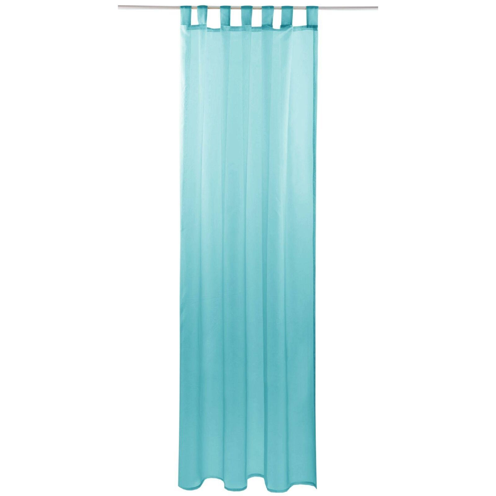 Schlaufenschal Vorhang mit Schlaufen Transparent Voile Uni Gardine große Auswahl türkis - aqua