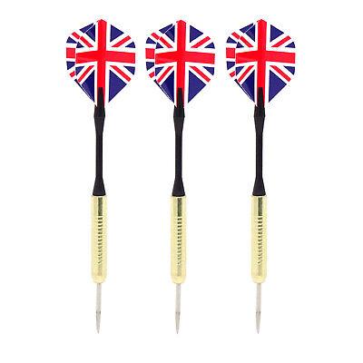 3x Dardos Profesionales Dardos Metal Punta Acero Inglaterra GB Flag 155mm