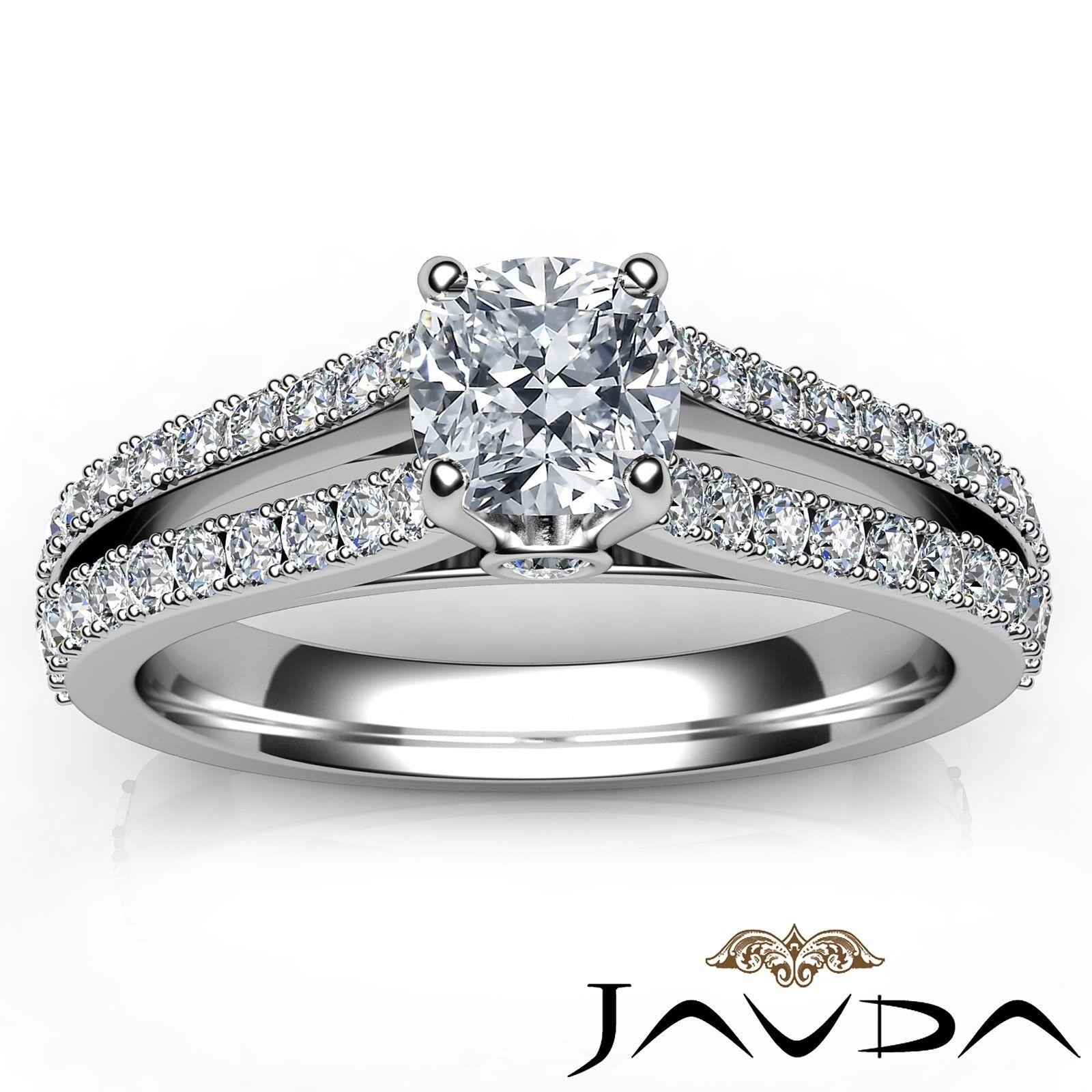 1.29ctw Double Prong Split Shank Cushion Diamond Engagement Ring GIA H-VS2  Gold 6