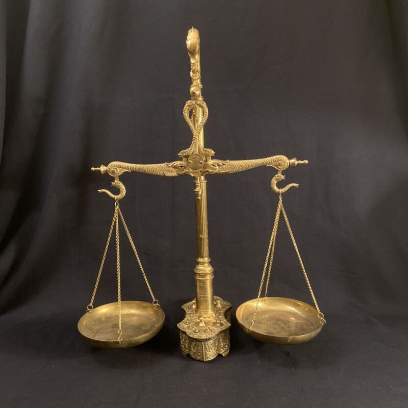 "19th Century Solid Brass Maco Braga Serpentine Balance Scale 23"" Tall"