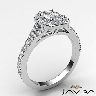 Halo Split Shank U Pave Set Emerald Shape Diamond Engagement Ring GIA H VS2 1Ct 1
