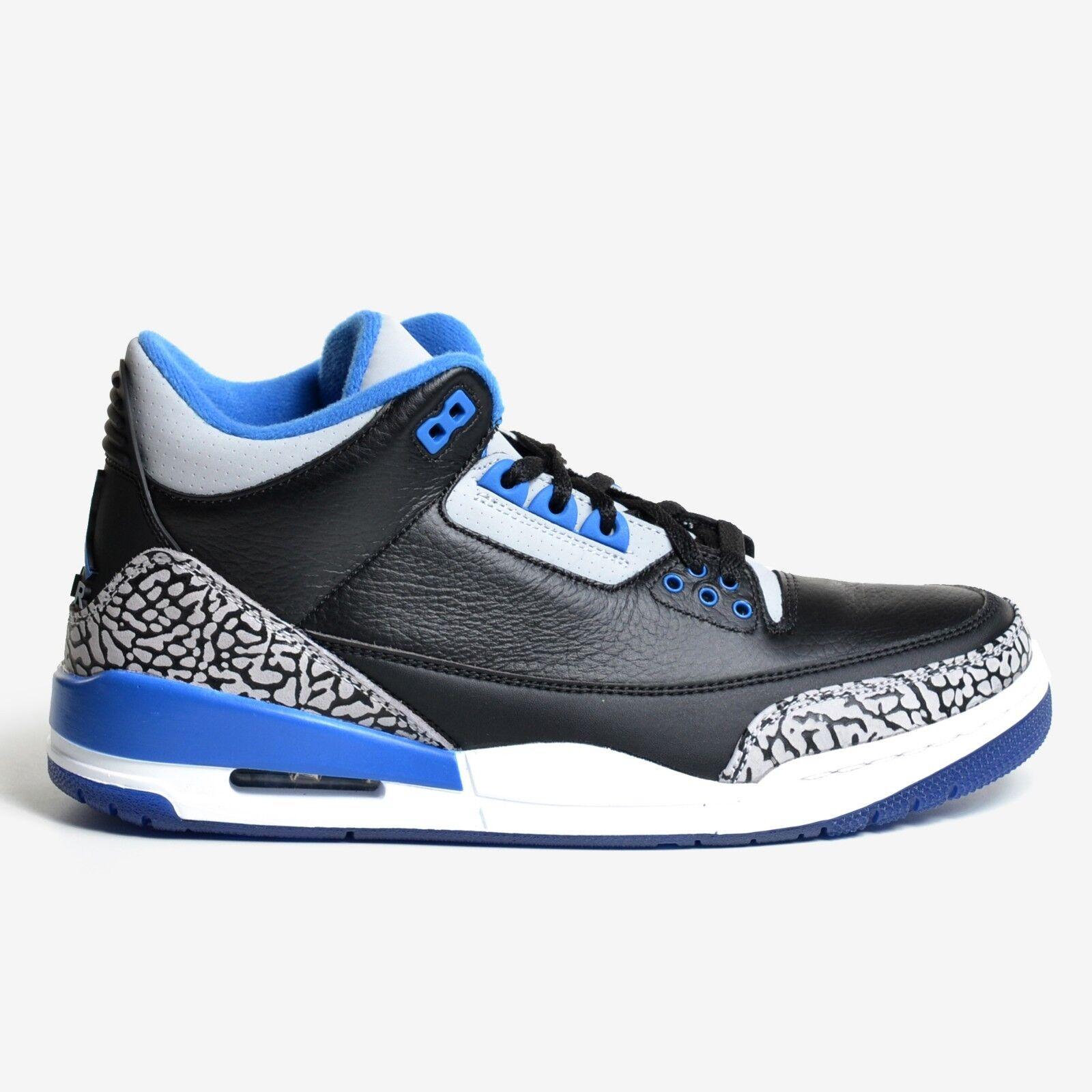 brand new 2a2ff b2212 Air Jordan 3 Retro Black Sport Blue 2014 Grey White Men s III DS 136064-007