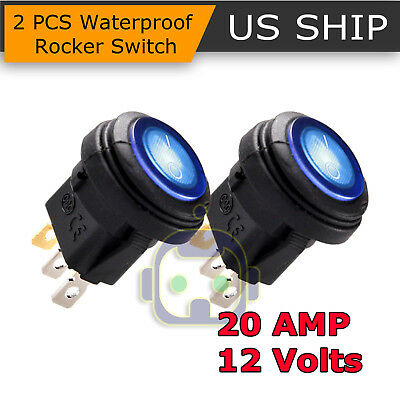 (2X 12V 20A Waterproof Round On/Off Rocker Switch Car Auto Boat SPST Marine Blue)