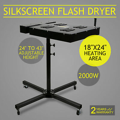 New 18x24 Flash Dryer Silkscreen T-shirt Printing Curing Adjustable Electrical