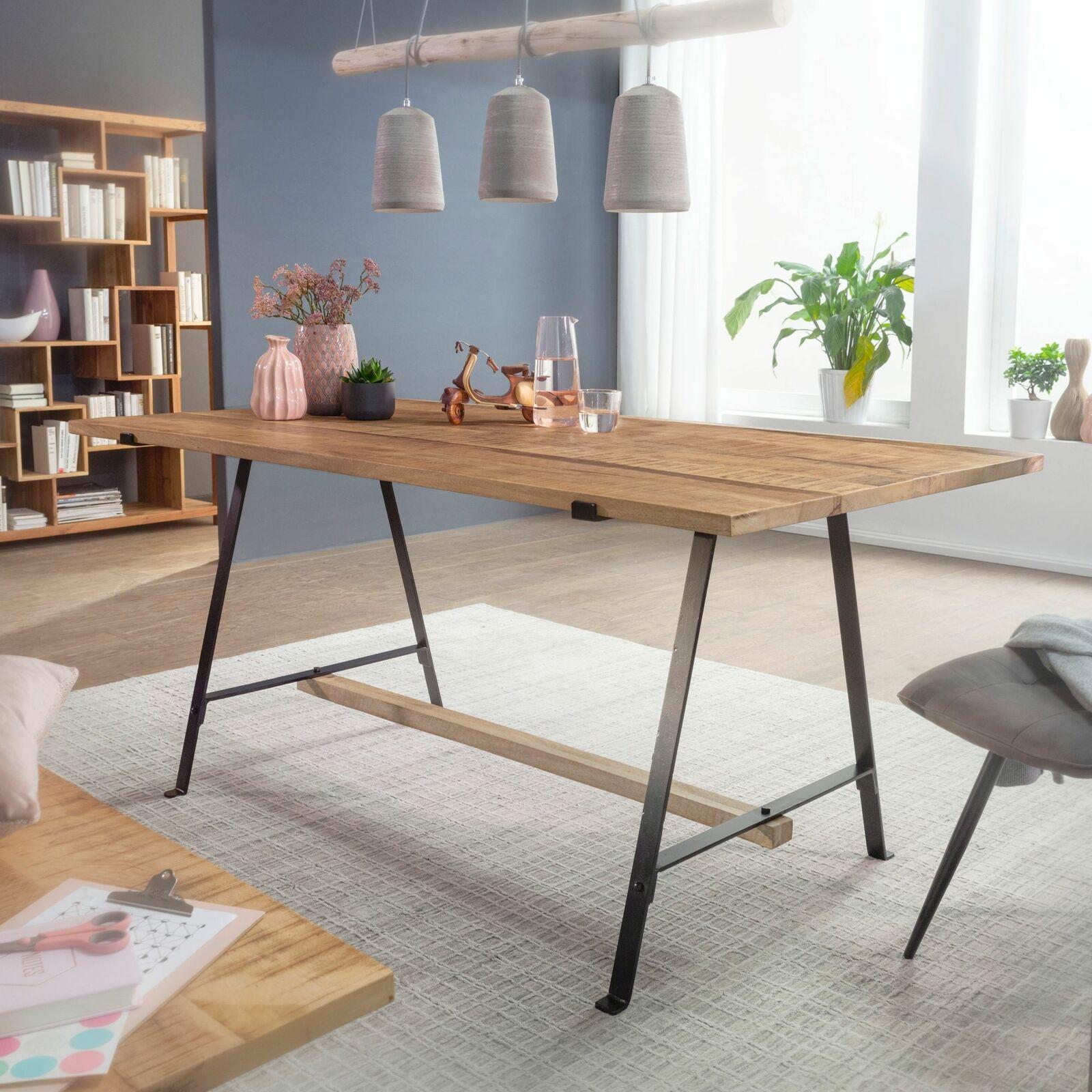 WOHNLING Esstisch Massivholz Esszimmertisch 175x90 cm Küchentisch Loft Tisch NEU 19