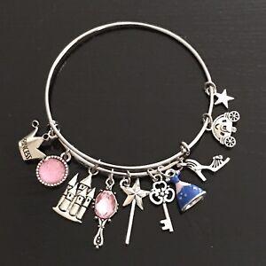 DISNEY PRINCESS -  CINDERELLA CARRIAGE SLIPPER WAND Silver Charm Bangle Bracelet