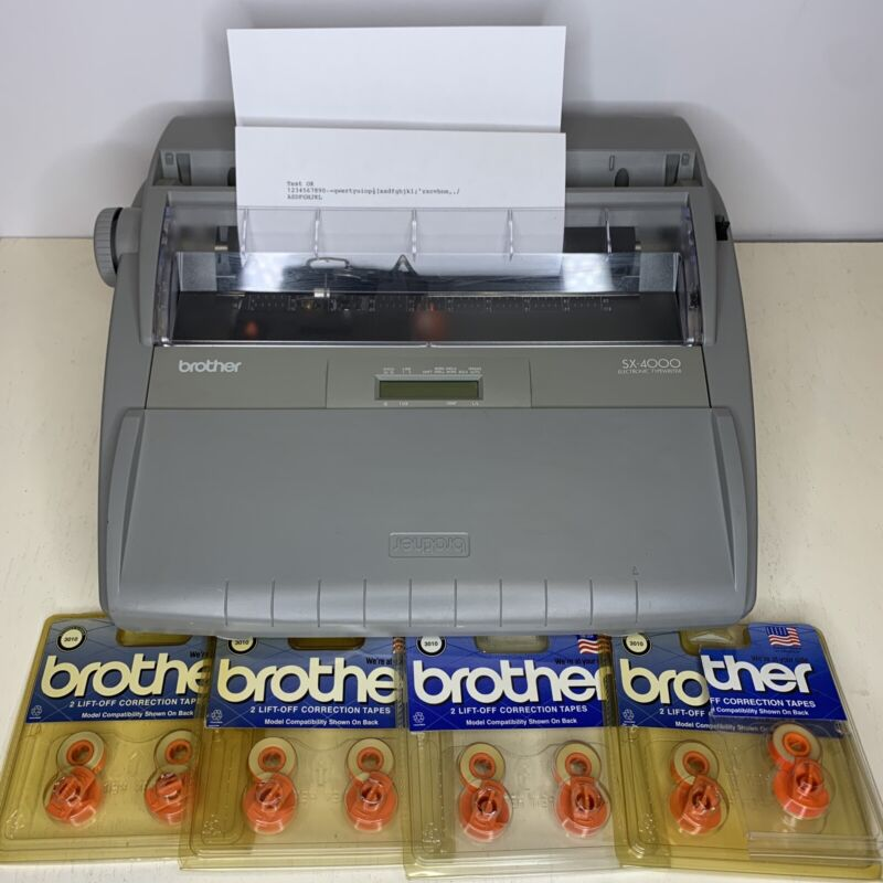 Brother SX-4000 Electronic LCD Digital Display Typewriter w/ 8 Tapes TESTED