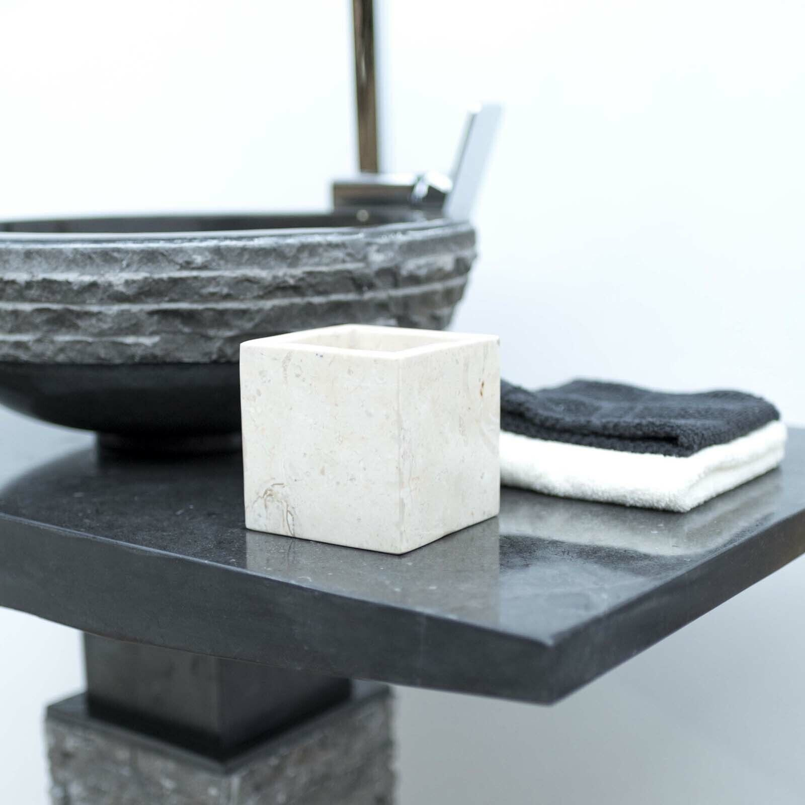 Marmor Zahnputz-Becher eckig Gefäß 10x10cm Aufbewahrung Behälter von wohnfreuden