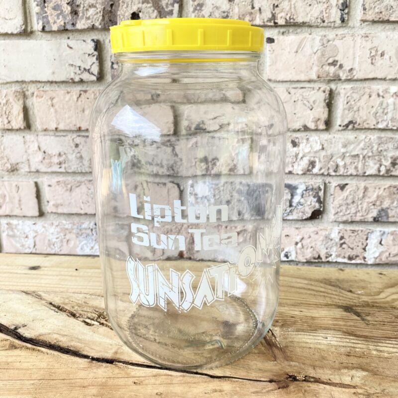 Vintage Vtg 1 Gallon Lipton Sun Tea Sunsational Iced Tea Jar