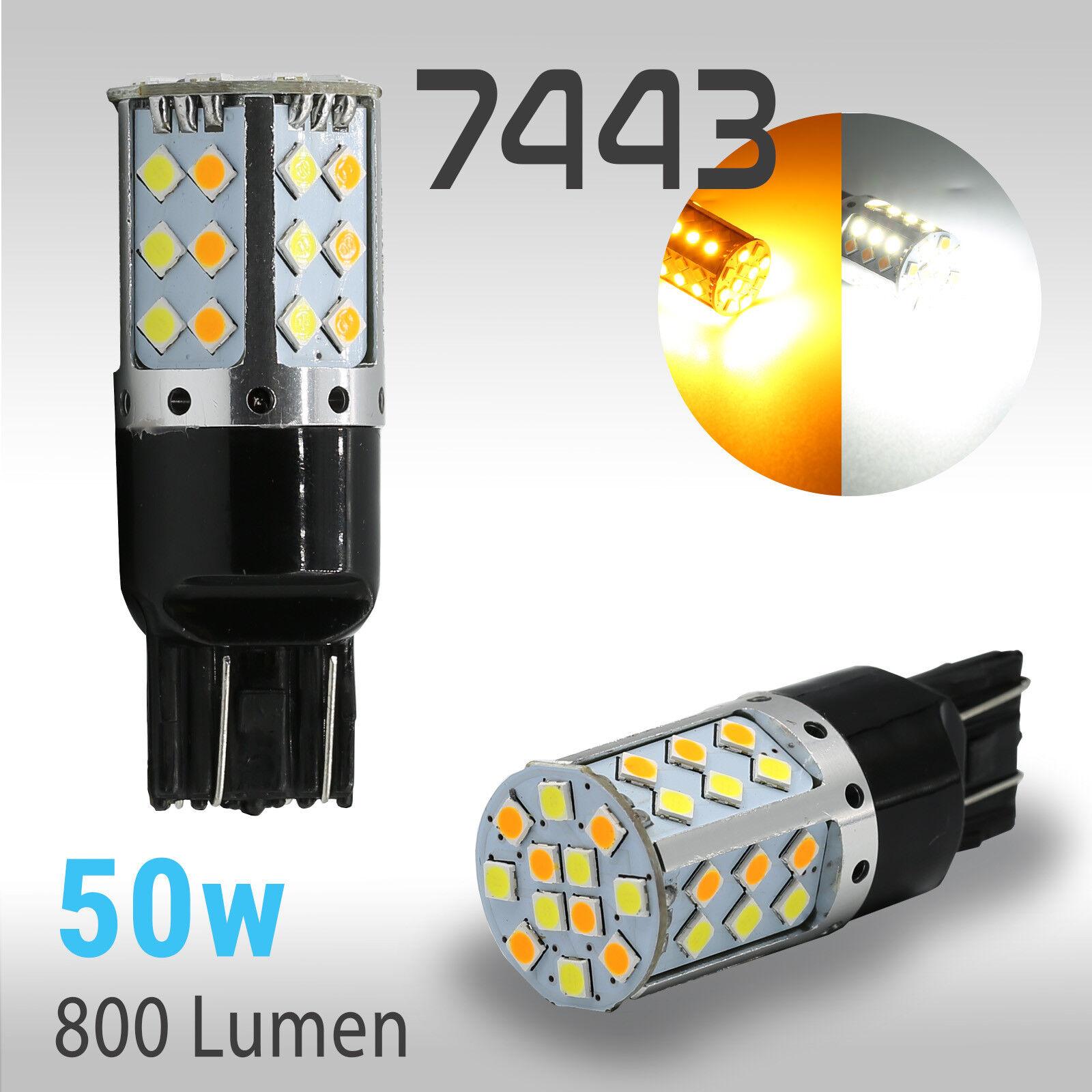 7443 Type-1 Switchback White//Amber 54-LED Error-Free Turn Signal Parking Bulbs