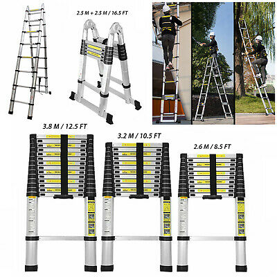 8.5 10.5 12.5 16.5ft Folding Aluminum Telescoping Collapsible Roof Climb Ladder