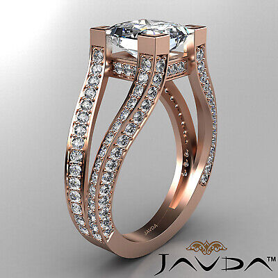 Circa Halo Split Shank Princess Diamond Engagement Pave Set Ring GIA H VS2 2.4Ct 10