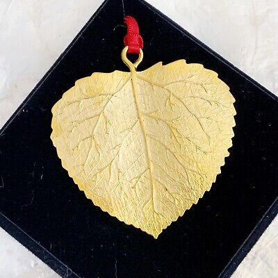 Gold Plated Pewter Aspen Leaf Christmas Ornament LS Collection Made In USA NEW ()