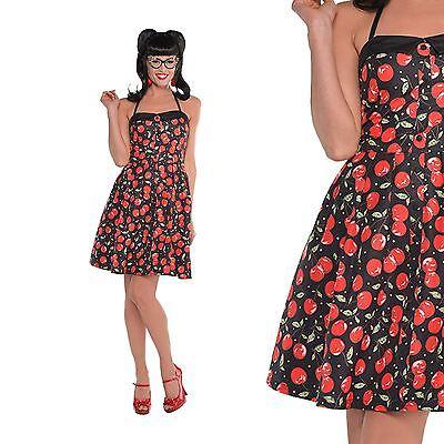 Ladies 50s Pin Up Girl Jive Swing Vintage Rockabilly Cherry Print (Cherry Girl Kostüme)