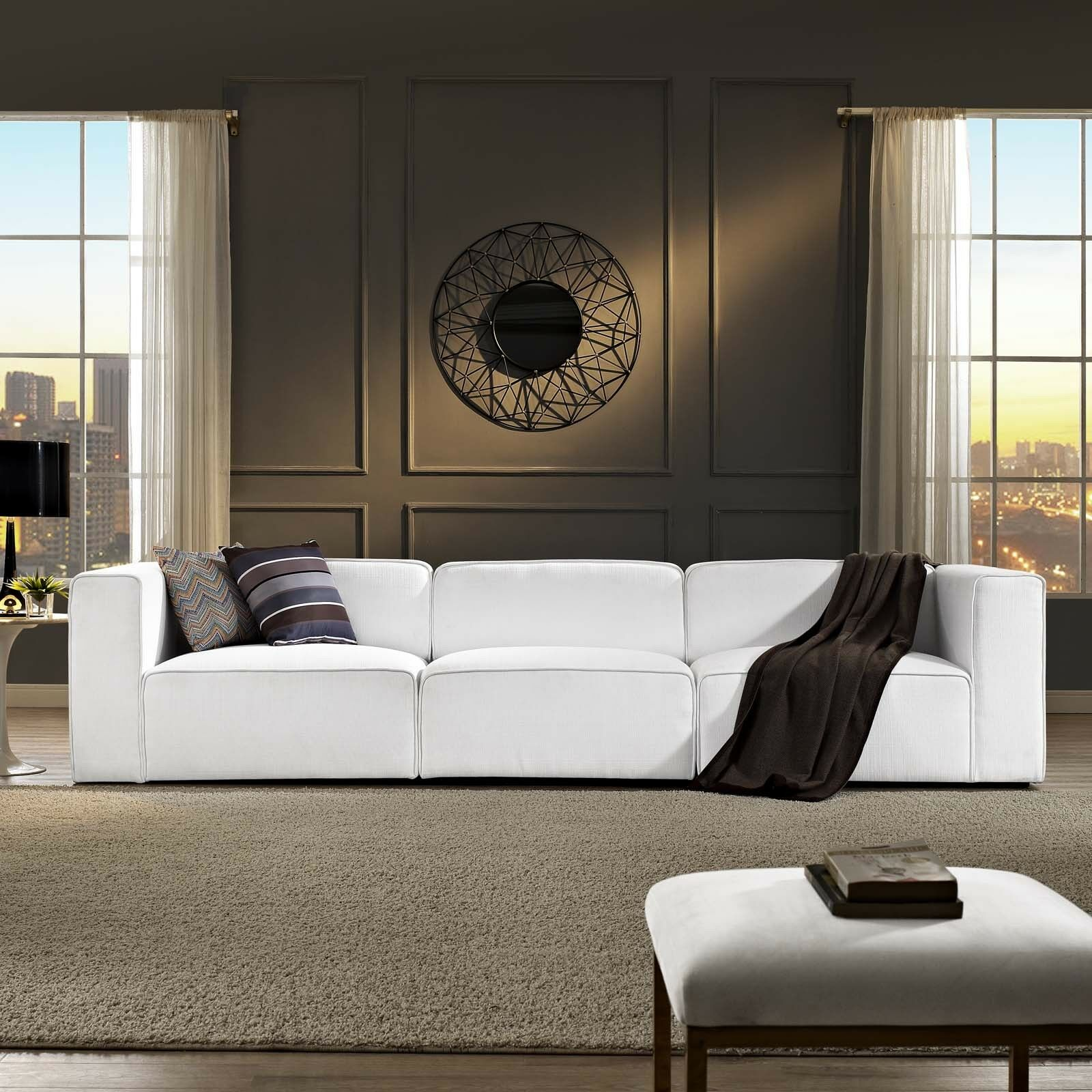 Details about Modway Mingle 3 Piece Upholstered Fabric Sectional Sofa Set  in White