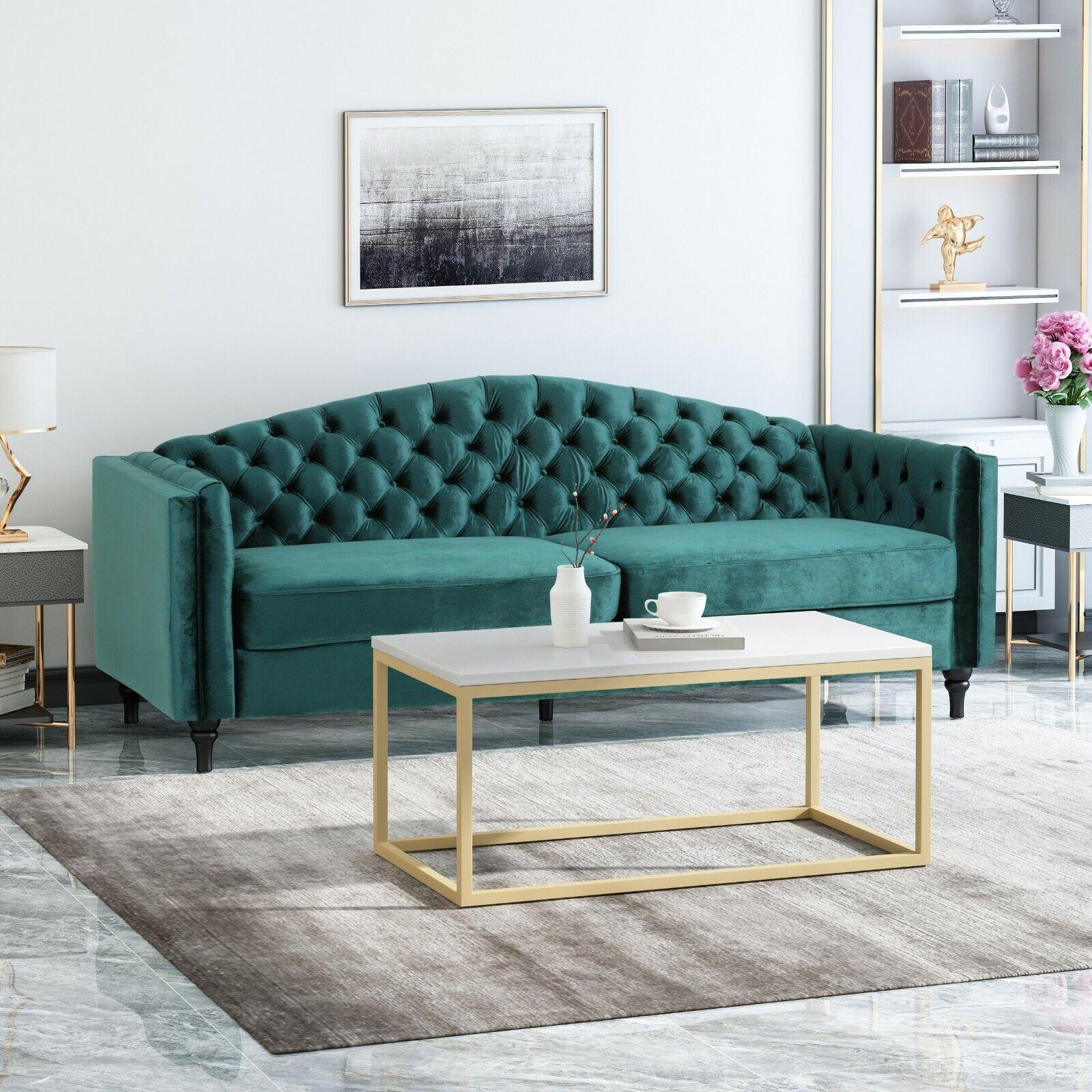 Darionna Glam Button Tufted Velvet 3 Seater Sofa Furniture