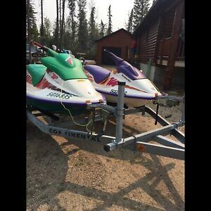 '94 Purple  SP 580 & '95 Green X P 650 Sea Doos & Trailer